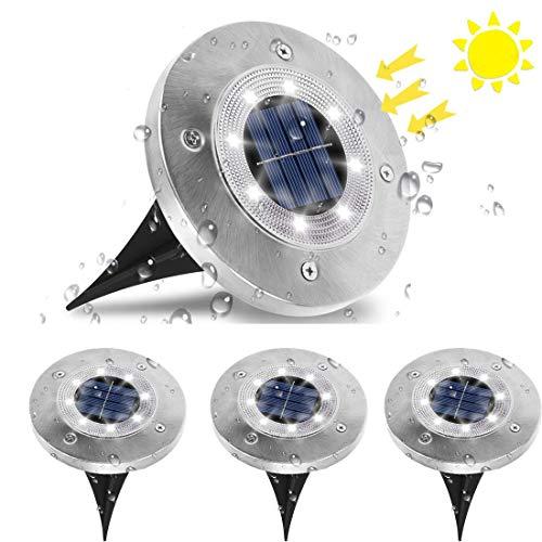 Luce Solare da Giardino, Jnnien 4 Pezzi Lampade Led Giardino 8LED Luci Led Solari da Esterno IP65 Impermeabile Luci…