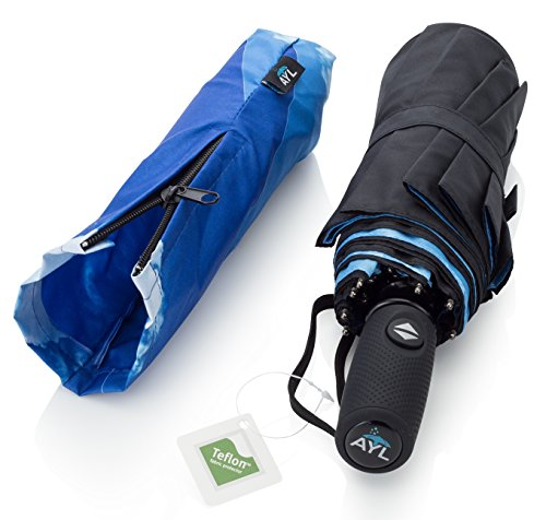 AYL Windproof Travel Umbrella with Teflon Coating and Zipper Pouch (Blue Sky)