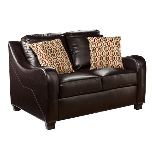 Southern Enterprises Montfort Leather Stationary Loveseat in Chocolate