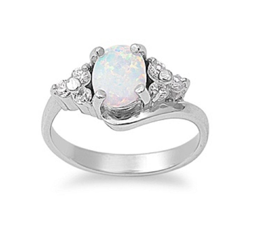 CloseoutWarehouse Oval Center Cubic Zirconia White Simulated Opal Ring 925 Sterling Silver Size 5