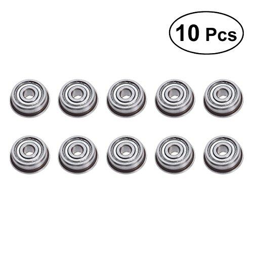 UEETEK 10pcs Micro Steel F623ZZ Flange Ball Bearings with Edge 3x10x4mm