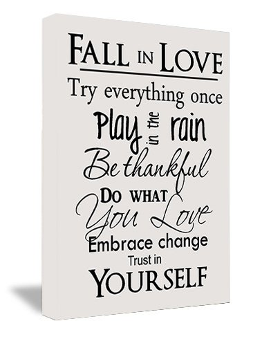 Amazon framed canvas print fall in love try everything once framed canvas print fall in love try everything once play in the rain be thankful do solutioingenieria Images