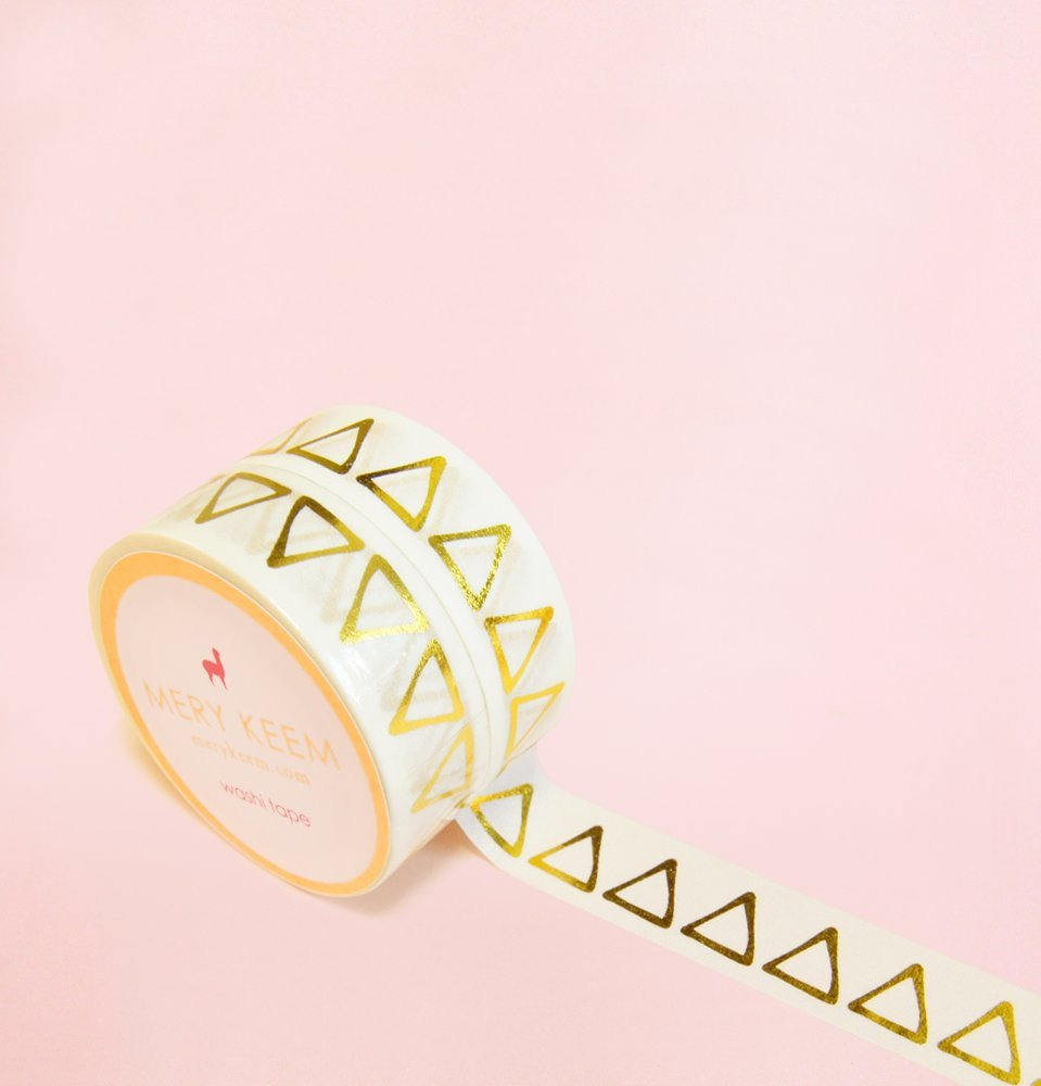 Triangle Gold Foil Washi Tape for Planning • Scrapbooking • Arts Crafts • Office • Party Supplies • Gift Wrapping • Colorful Decorative • Masking Tapes • DIY