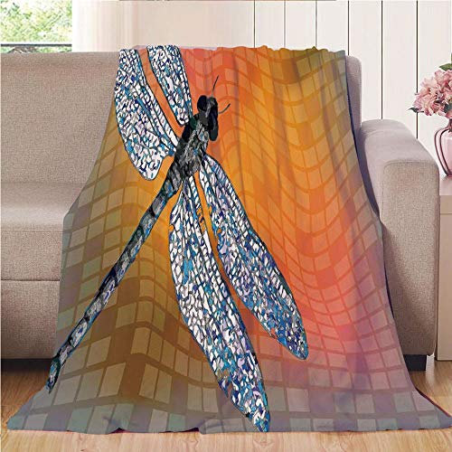 House Dragonfly Bird (Blanket Comfort Warmth Soft Air Conditioning Easy Care Machine Wash House,Dragonfly,Bird Like Bugs Flying on Orange Marigold Abstract Geometrical Digital Backdrop,Multicolor,47.25