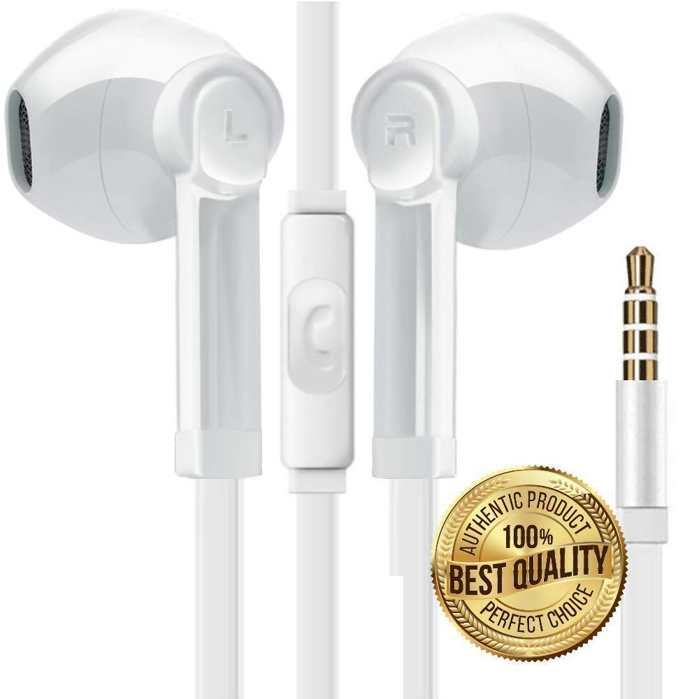 BUDZ Premium Sound Headphones Noise Isolation Earphones Earbuds Bass Enhance Stereo with Microphone Remote Control Compatible for Smartphones Tablets - Samsung/iPhone/LG/Sony/HPC-White