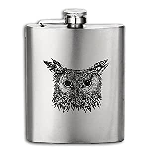 DeckerMO Black Owl Pocket Hip Flask Outdoor Portable Flagon For Gift, Mountaineering,Tourism,Camping ,household 8OZ 304 Stainless Steel