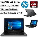 "Newest HP Flagship High Performance 15.6"" HD laptop   AMD A-Series A8-7410 Quad-Core Processor   Radeon R2 Graphics   4 GB DDR3   1 TB HDD   DVDRW   WIFI   Bluetooth   Windows 10 Home (Black)"