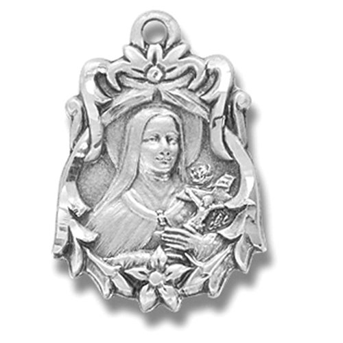 (Saint Therese Medal 13/16 Inch Sterling Silver The Little Flower Pendant)