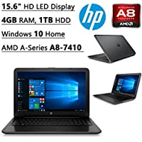 2016 HP Flagship High Performance 15.6 HD laptop| AMD A-Series A8-7410 Quad-core Processor| 2.2 GHz| Radeon R2 Graphics| 4GB DDR3| 1 TB HDD| DVD RW| WIFI| Bluetooth| Windows 10 Home (Black)