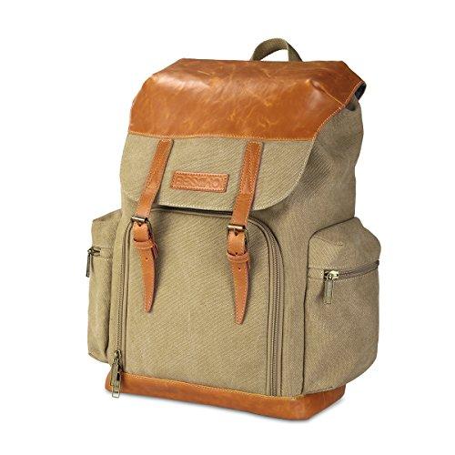 Beschoi Camera Backpack Waterproof Vintage Canvas Leather Backpack Camera Bag for DSLR SLR Digital Camera Case Shoulders Bag Khaki by Beschoi