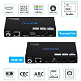 EZCOO 4K HDMI 2.0 Extender ARC HDR Scaler,HDBaseT Extender,Uncompressed 4K 60Hz 4:4:4 18Gbps HDCP 2.2 SPDIF, 4K/ 1080P Scaler Out, 230ft 1080P, 130ft 4K via Cat5e/6a, Bi-directional PoE+IR, CEC, DTS:X