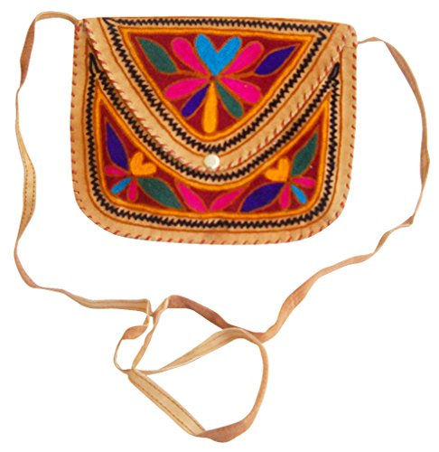 Beautiful Handmade shoulder Multi Sling Color Bag Leather Embroidered Camel 44grqSvdxw