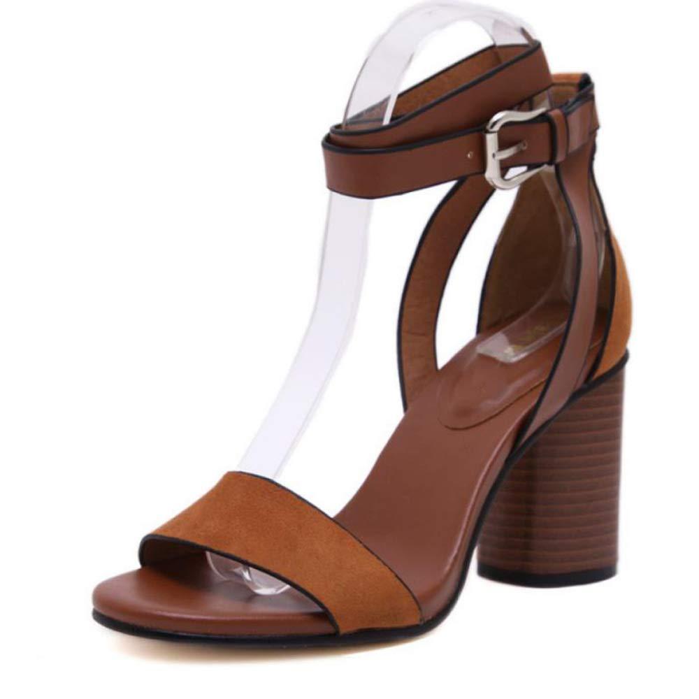 I Sandali da Donna con Tacco Alto Alto Alto Si Aprono in Punta con Una Fibbia retrò per Pendolari a9220d