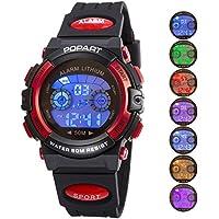 Kid reloj para niña y niño vestido de deporte al aire última intervensión Digital impermeable alarma, LED, multifunción, s, Rojo