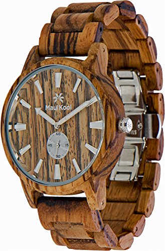 Wooden Watch For Men Maui Kool Kaanapali Collection Zebra Wood Watch Zebra Face Bamboo Gift Box