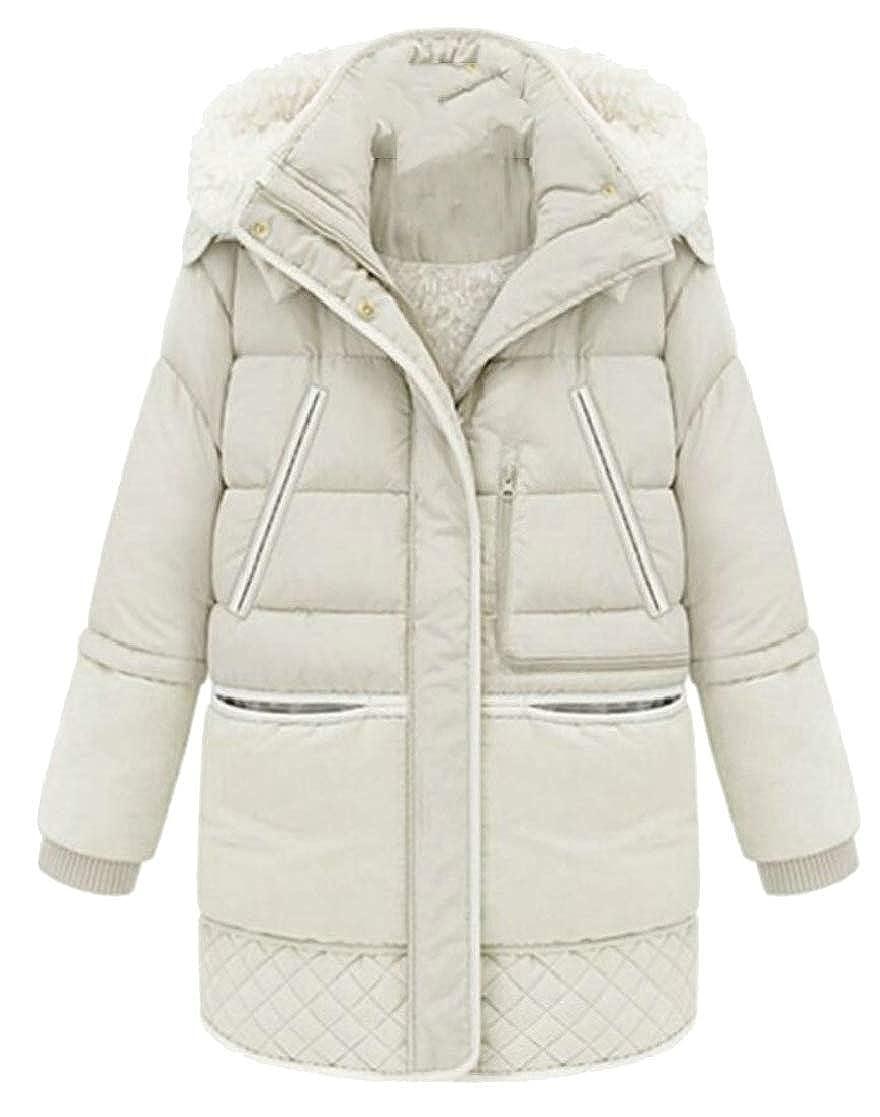 M/&S/&W Womens Winter Thicken Mid Length Lamb Wool Hooded Coats Jacke