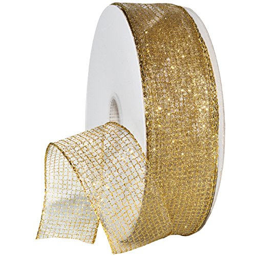 Morex Ribbon 7435 Cosmic Ribbon, Wired Organza with Glitter, 1-1/2 Inch, 50-Yard, -