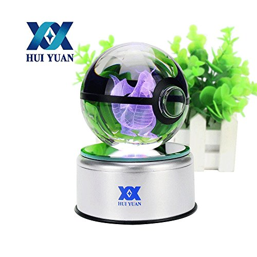 3D Crystal Ball Fancy LED Lighting and Spinning Primary Base Advance 3D Laser Engraving Valentine Children's Gift (Clear Pokeball)