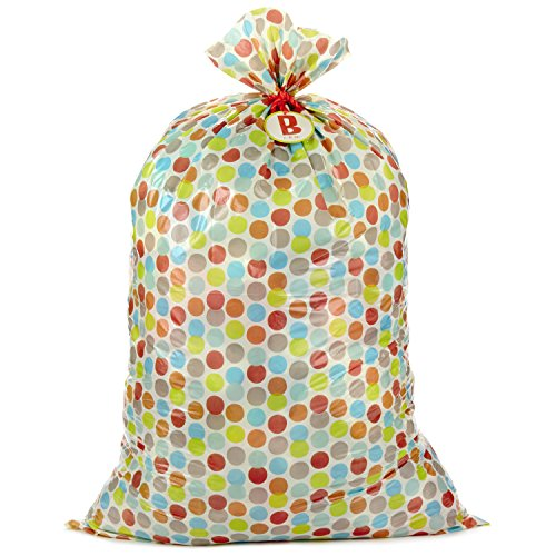 Hallmark Large Plastic Gift Bag Baby Shower Multicolor Dots