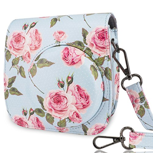 Wolven Protective Case Bag for Fujifilm Instax Mini 9 / Mini 8 / Mini 8+ Instant Camera - Blue Rose