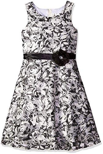 Rare Editions White Dress (Rare Editions Big Girls' Printed Lace Dress, Black/White, 10)
