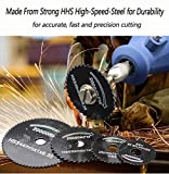 "6 Pcs Rotary Drill Saw Blades, Steel Saw Disc Wheel Cutting Blades with 1/8"" Straight Shank Mandrel for Dremel Fordom Drills Rotary Tools"