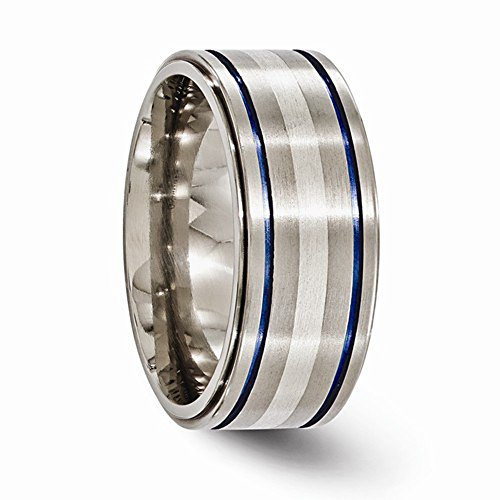 Edward Mirell Titanium with Sterling Silver & Blue Anodized Inlay 10mm Wedding Band - Size 14