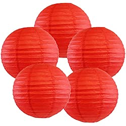 """Just Artifacts 12"""" Red Paper Lanterns (Set of 5) - Click for more Chinese/Japanese Paper Lantern Colors & Sizes!"""
