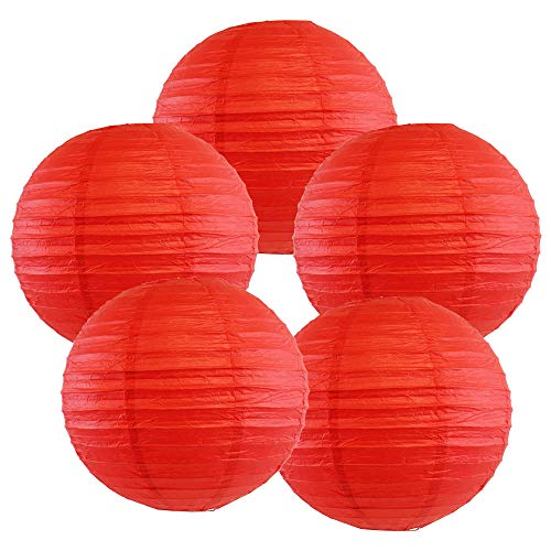 Just Artifacts 8-Inch Red Chinese Japanese Paper Lanterns (Set of 5, Red)