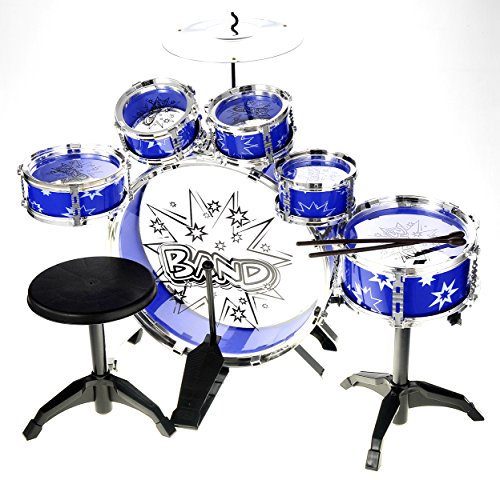 PowerTRC Musical Drum Set | Toy Drum For Kids | Set Includes 6 Drums, Cymbal, Chair, Kick Pedal, Drumsticks (Blue)