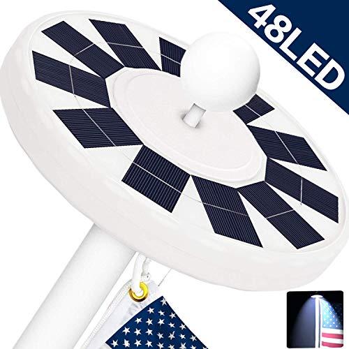 NAIYO New Generation 48LED.Solar Flag Pole Light, Flagpole Solar LightDownlight Lighting for 15 to 25 Ft Flag Pole Topper, 3 Modes,IP67 Waterproof Auto On/Off Night Light (48 LED)