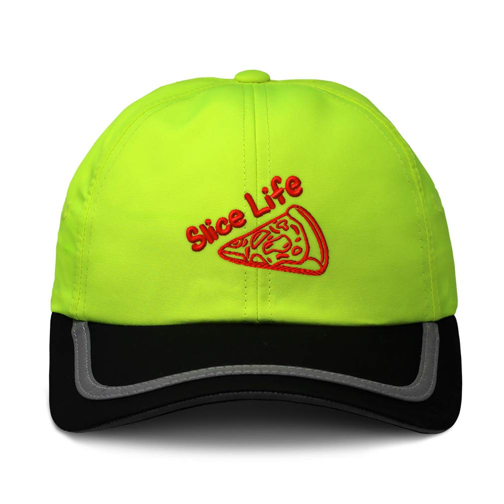 Custom Reflective Running Hat Pizza Slice Life Embroidery Polyester One Size