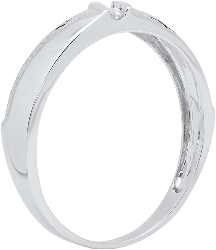 Dazzlingrock Collection 10kt White Gold Mens Round Diamond Single Row Cross Wedding Band 1//20 ctw