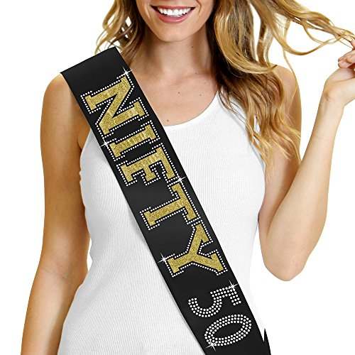 Gold Glitter & Rhinestone NIFTY 50 Satin Sash - 50th Birthday Decorations - Black -