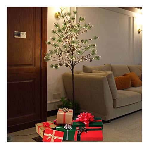 Pine Tree Floor Lamp - 5FT 240LED Christmas Xmas Green Pine Needle Light Tree Floor Lamp Decor White