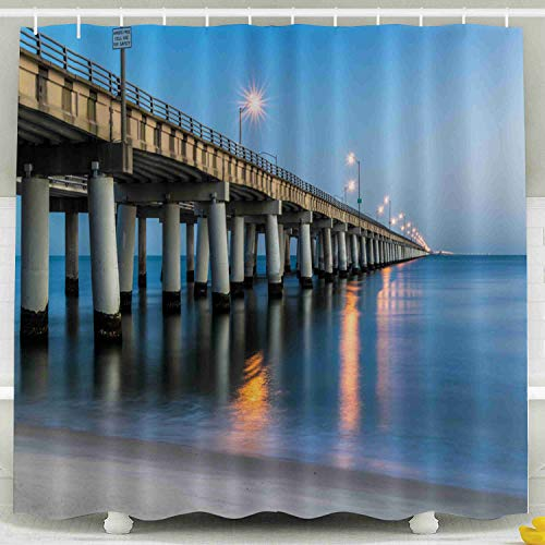 (Shorping 78x72 Shower Curtain,Kids Shower Curtain, Bay Bridge As Seen from Beach to Sunrise Virginia 30 Minutes Prior Waterproof Decor Bathroom Set with Hooks)