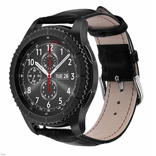 Black Pattern Crocodile (Gear S3 Band, iitee Genuine Leather Crocodile Pattern Replacement Strap Band for Samsung Gear S3 Classic/Frontier Smart Watch Black)