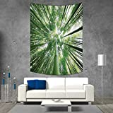 smallbeefly Bamboo Vertical Version Tapestry Tropical Rain Forest Tall Bamboo Trees in Grove Exotic Asian Style Nature Zen Theme Image Throw, Bed, Tapestry, or Yoga Blanket 70W x 93L INCH Green