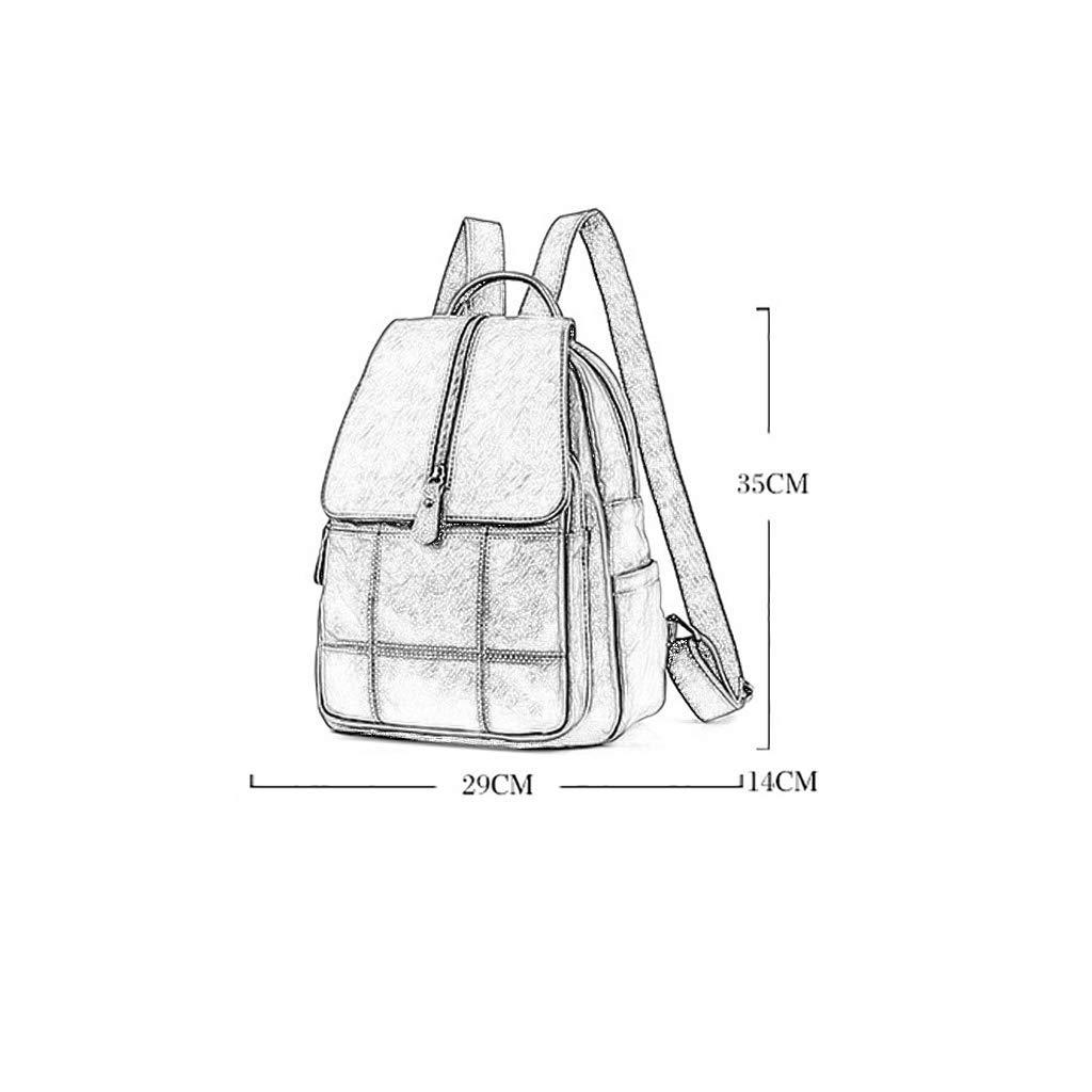 LY88 dam ryggsäck casual PU-läder resväska 29 x 14 x 35 cm dragkedja lås fem färger present Svart