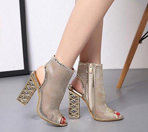 2 con de de cabeza Sandalias KUKI de de tacones altos romanas cristal pez zapatos 8BOnw