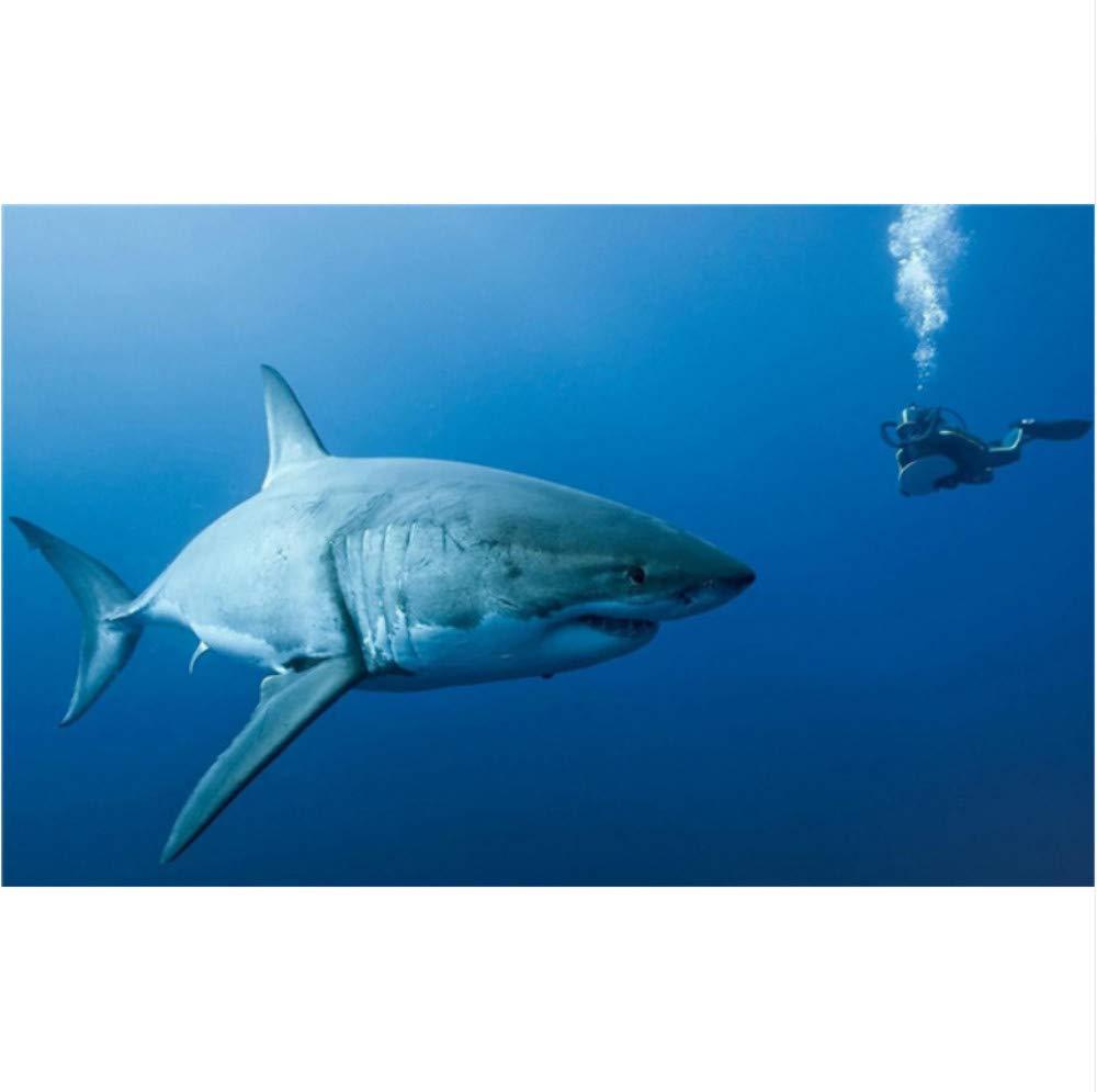 ycsmyxgs Die Unterwasserwelt Diamant Malerei Kreuzstich 5D DIY Shark Diamant Stickerei Diamant Mosaik Home Decor-50x60cm