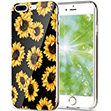 iPhone 6 Plus case, iPhone 6s Plus case, AIKIN Simply Designed Flower Pattern Case Soft TPU Flexible Case Shockproof Protective Cute Case for iPhone 6s Plus, iPhone 6 Plus 5.5' (Sunflower + Black)