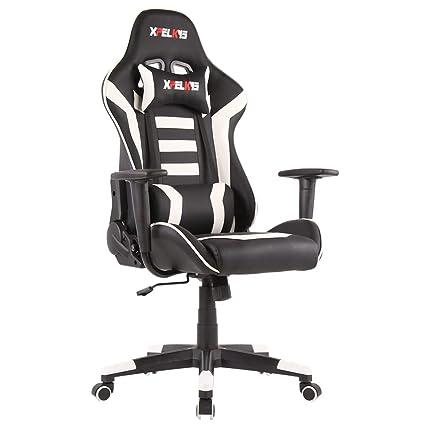 Stuhl 11 Bürostuhl Xpelkys Sessel Mit Schreibtischstuhl Racing Fußstützeweiß Gaming Pc Gepolsterte BxedrCo