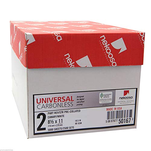 - 8.5 x 11 Nekoosa Universal Carbonless Paper, 2 Part Reverse (Bright White/Canary), 2500 Sets, 5000 Sheets, 10 Reams