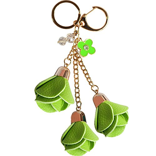 Bolbove 3 Leather Roses Keychain Backpack Flowers Keyring Purse Pendant Handbag Charm (Green)