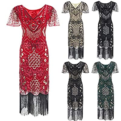 1920s Dress for Women Long Art Deco Fringed Sequin Dress Inspired Fringe Embellished Flapper Gatsby Prom Party Dress