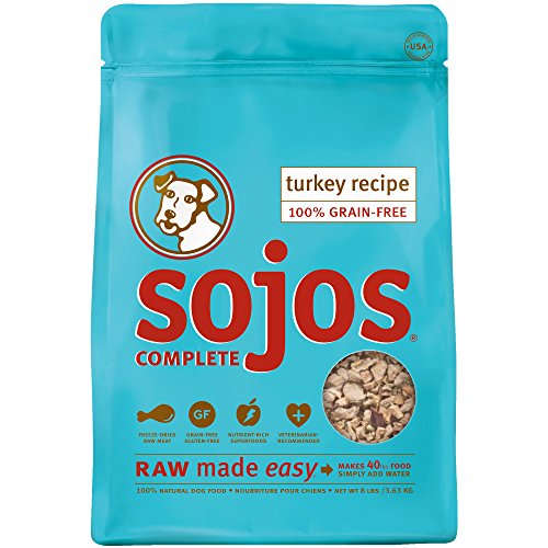 Sojos Complete Natural Grain Free Dry Raw Freeze Dried Dog Food Mix, Turkey, 8-Pound Bag