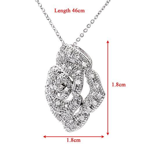 Revoni Bague en or blanc 9carats-serti de diamants 0.25ct Rose Pendentif et chaîne 45,7cm