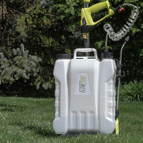 FlowZone Shower 4-Gallon Lithium-Ion Battery Powered Roller/Backpack Sprayer (3.6V/2.6A Spray Gun)