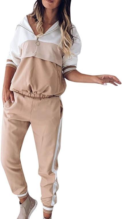 2 Pezzi Tuta Ginnastica Sportiva Abbigliamento per Yoga Corso Palestra Jogging Fitness Pantaloni N//X Donna Tuta da Ginnastica Sportiva Tuta Manica Lunga Felpa con Zip